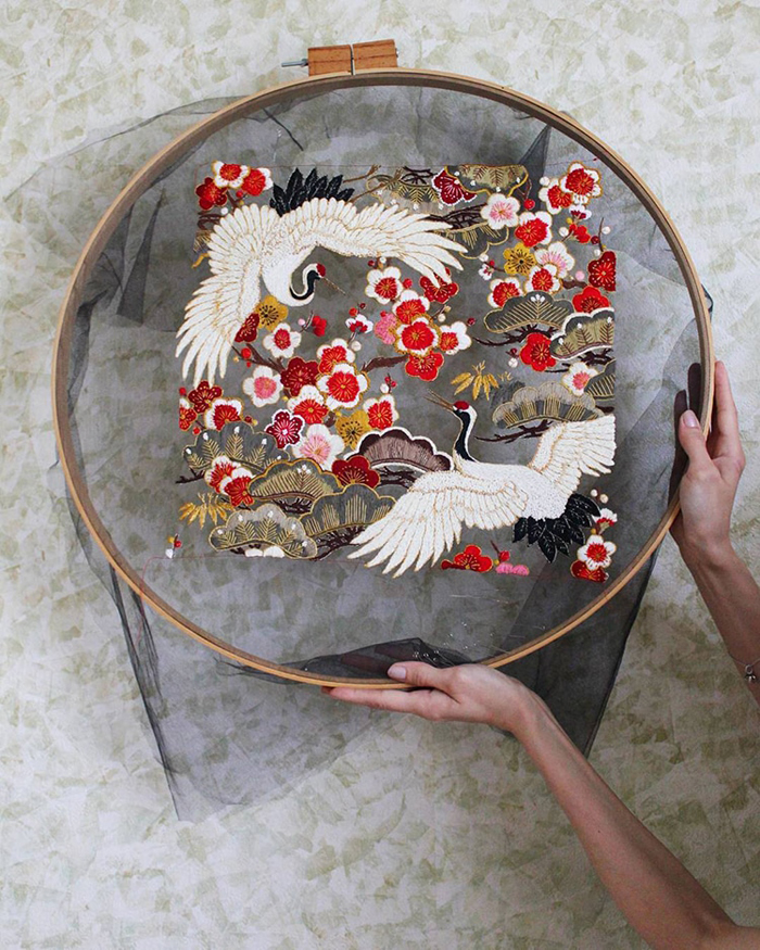 tulle embroidery birds flowers