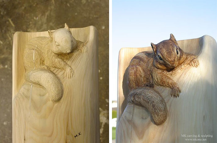 Wood Artist Mori Kono Carves Fallen Logs Into Cute Forest