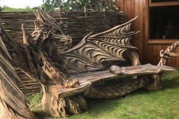 wooden dragon bench
