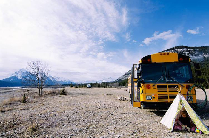 yellow school bus mobile tiny home