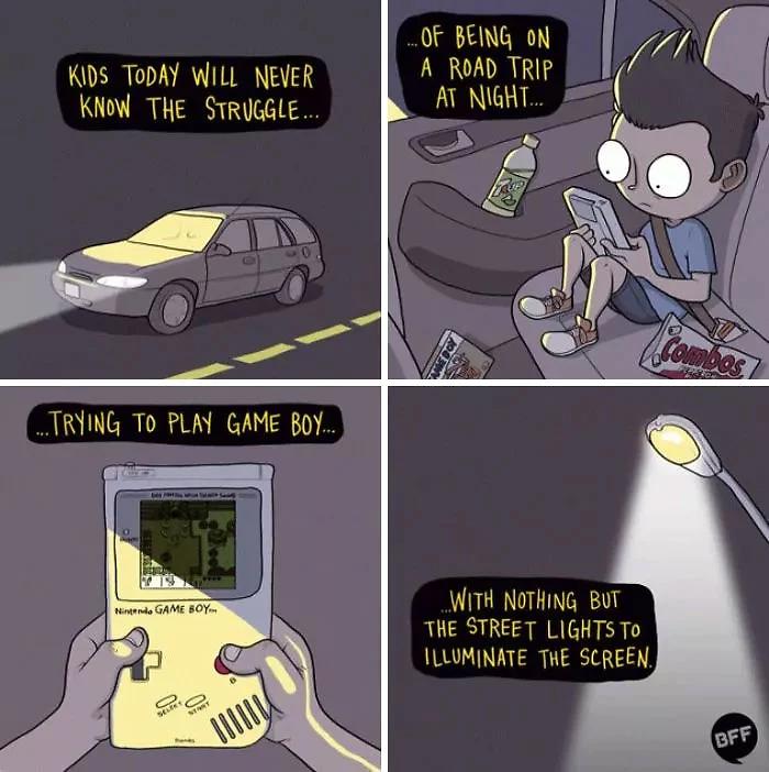 90s kids struggles gameboy no backlight