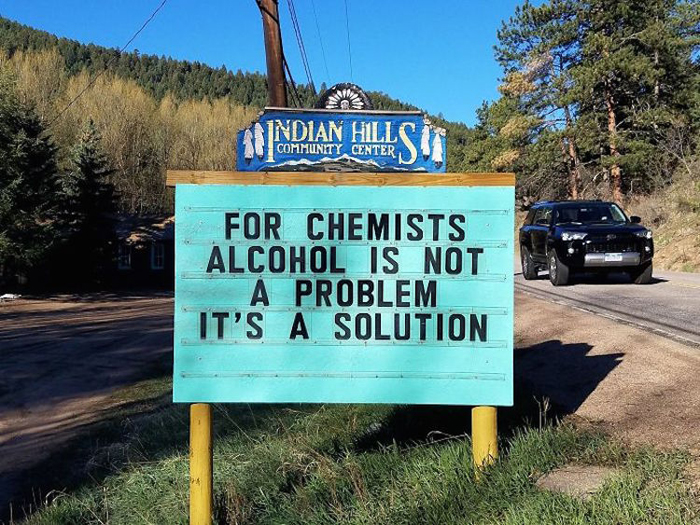 alcohol solution funny road signs