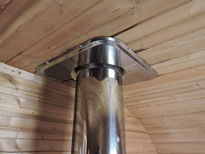 allwood barrel sauna steel chimney
