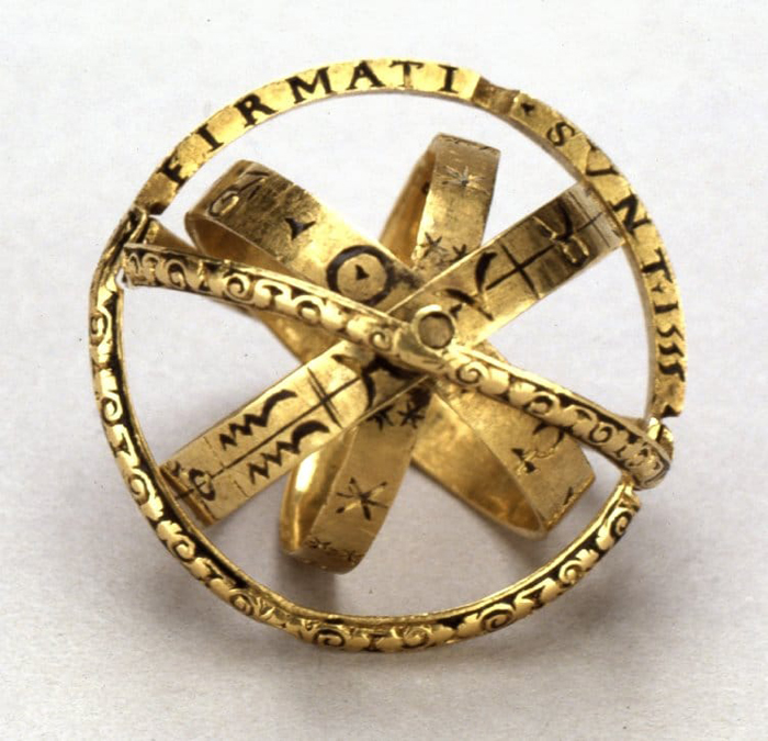 ancient armillary sphere rings with inscriptions