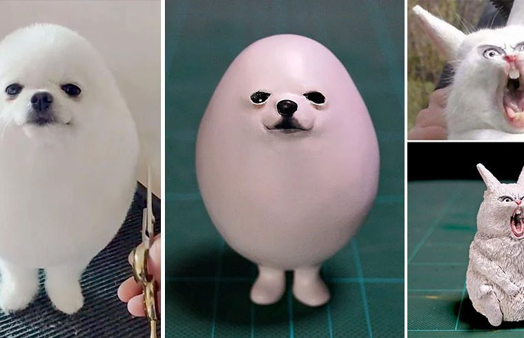 animal meme sculptures