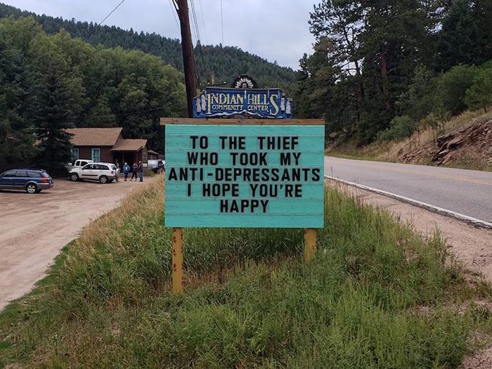 anti-depressant thief joke funny road signs