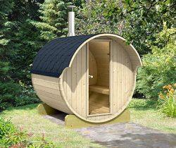 barrel sauna backyard