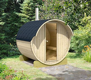 barrel sauna backyard