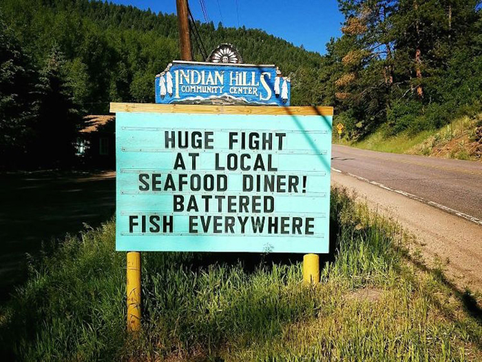 battered fish pun joke sign