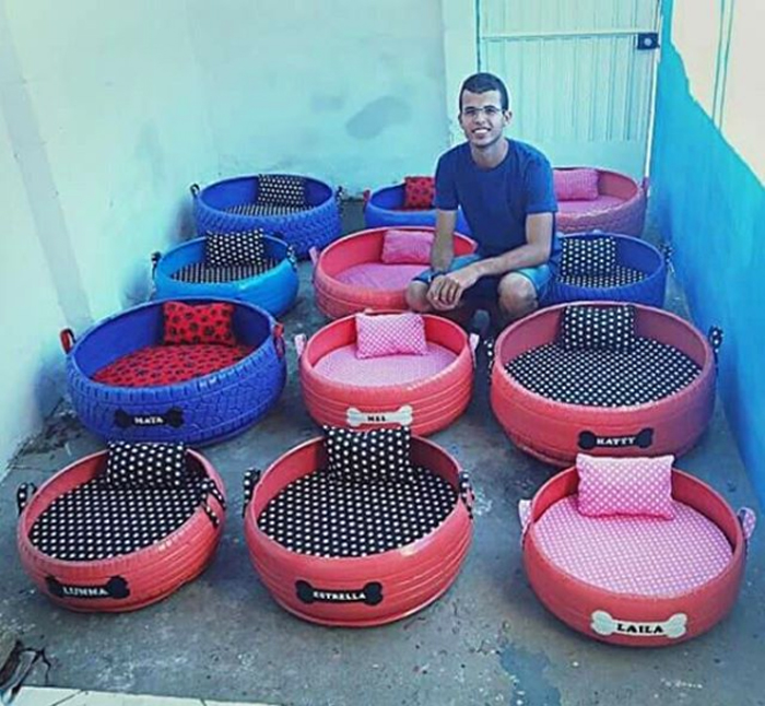 beds for stray cats and dogs old tires