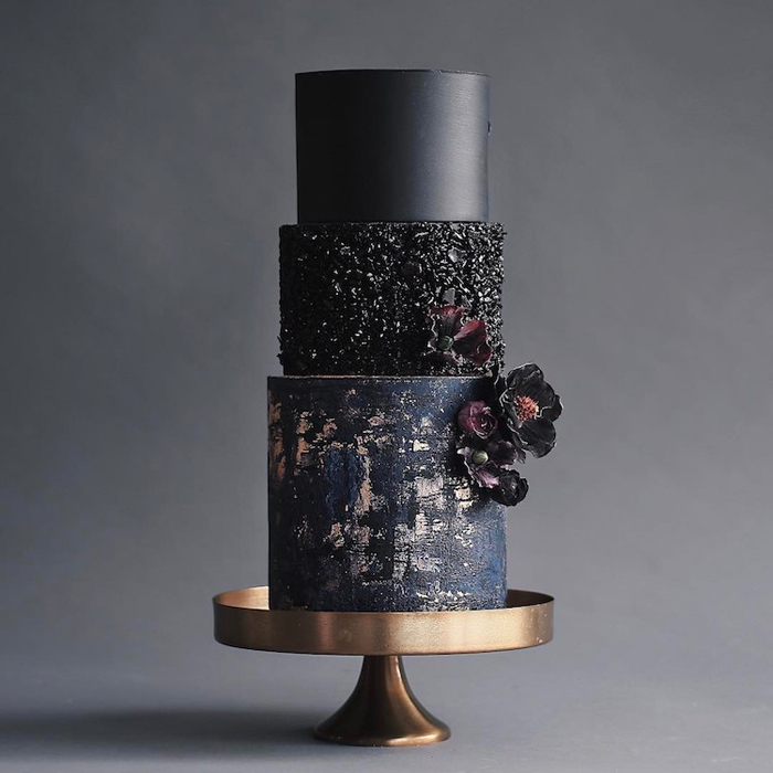 black wedding cake different textures