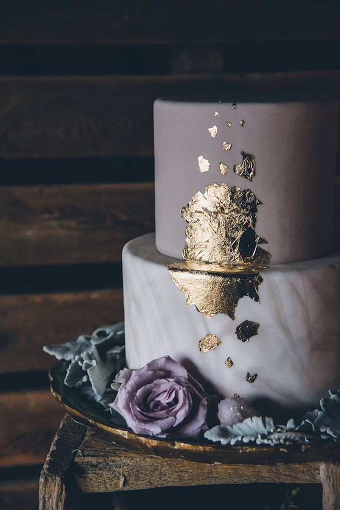 black wedding cake hand painted gold