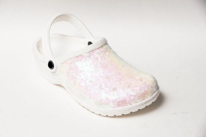 bridal crocs sequin crystals