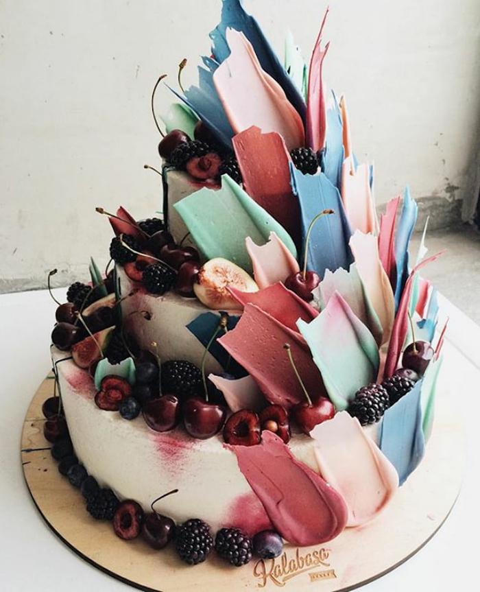 brushstroke cakes fresh fruits