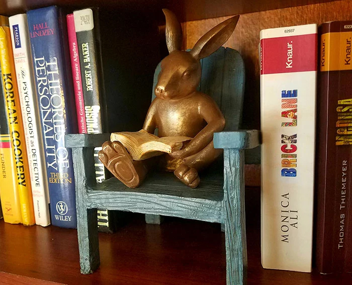 bunny in reading chair