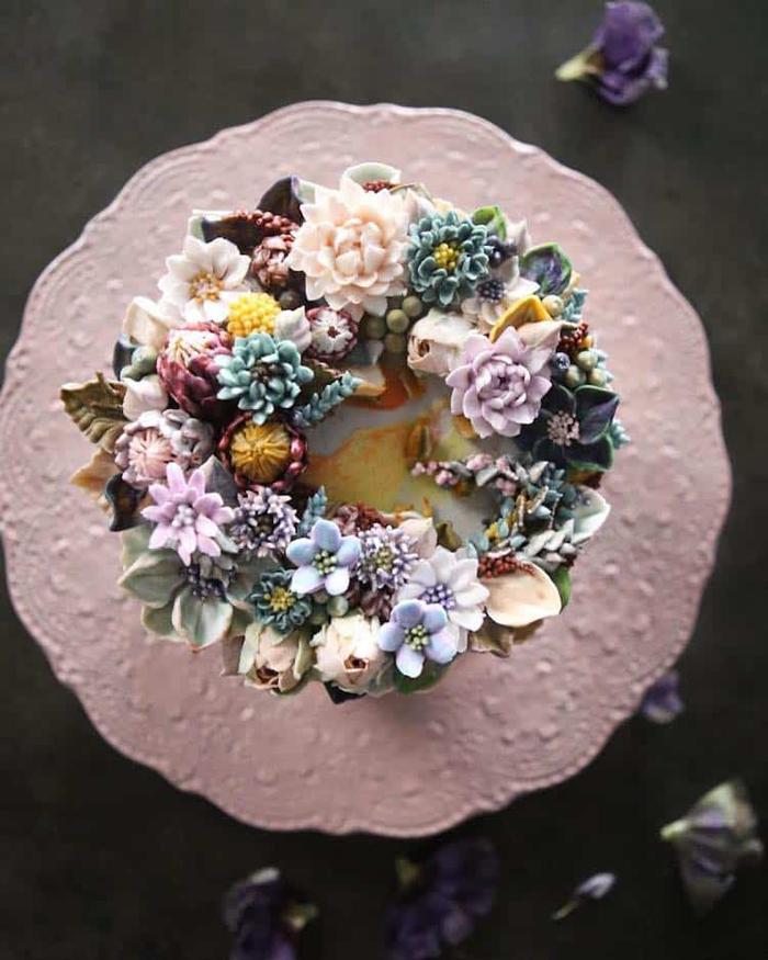 buttercream cake realistic bouquets