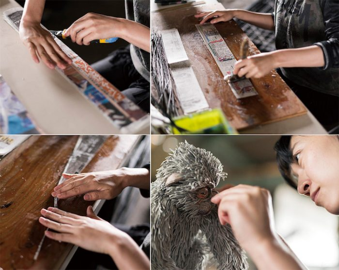 chie hitotsuyama making newspaper animal sculptures