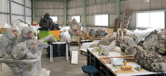 chie hitotsuyama studio newspaper animal sculptures