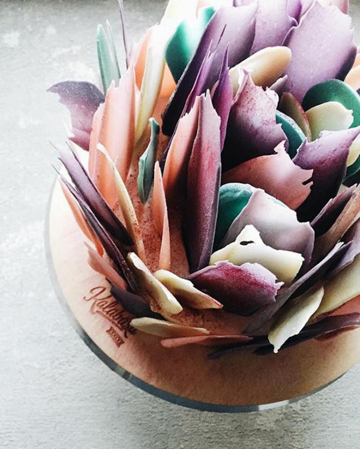 chocolate brushstroke cakes colors
