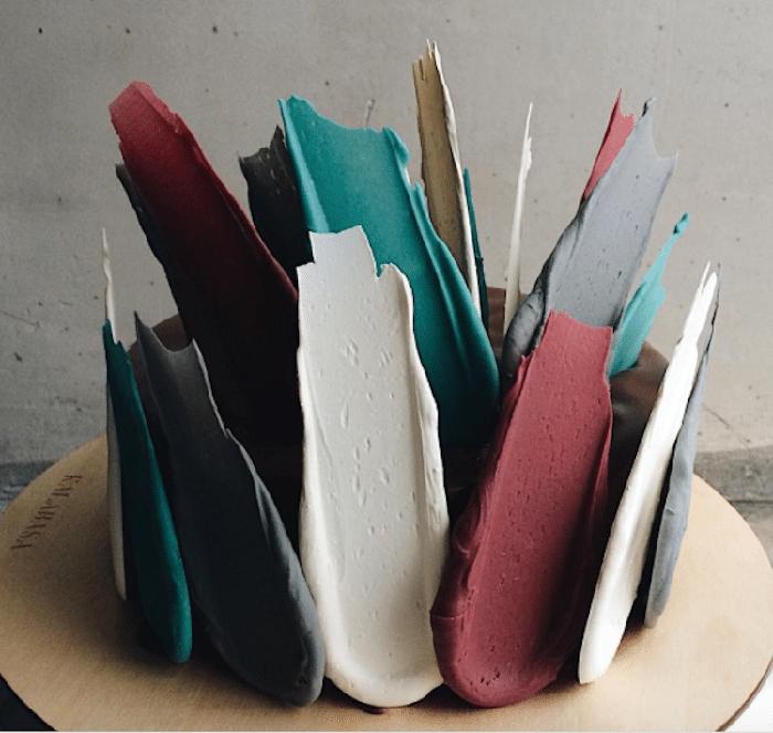 colorful brushstroke cakes