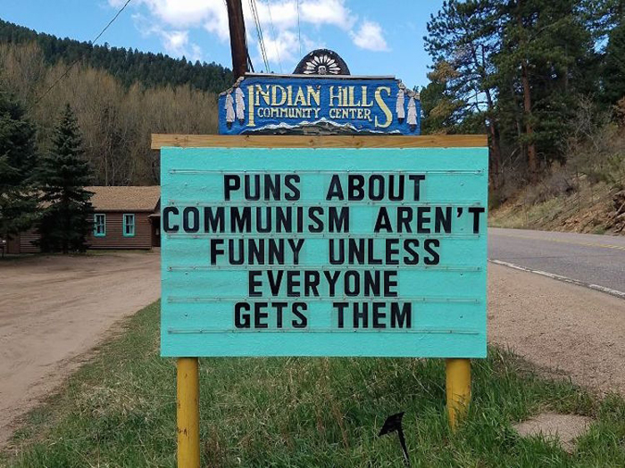 communism puns funny road signs