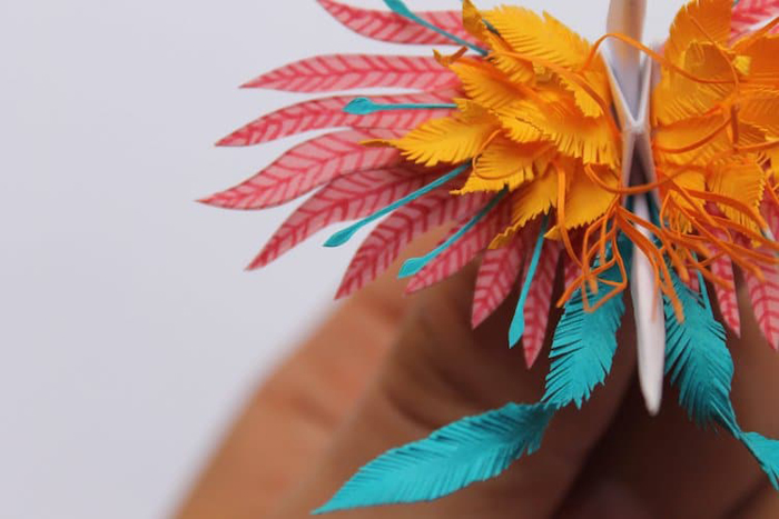 cristian marianciuc paper cranes feather details