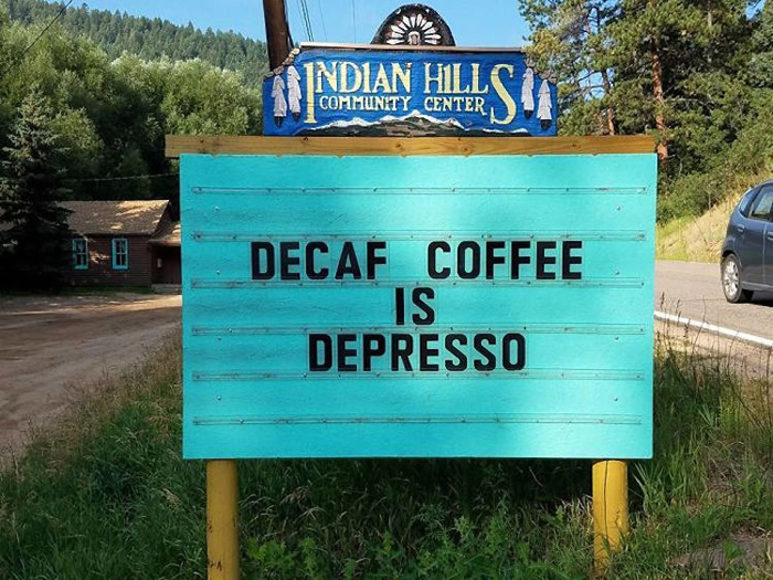 decaf depresso funny road signs