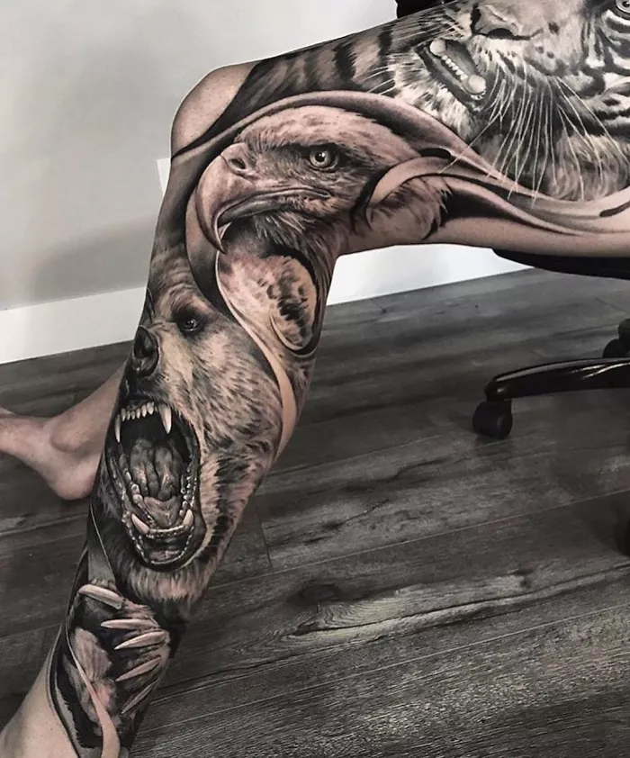 epic leg tattoos animals