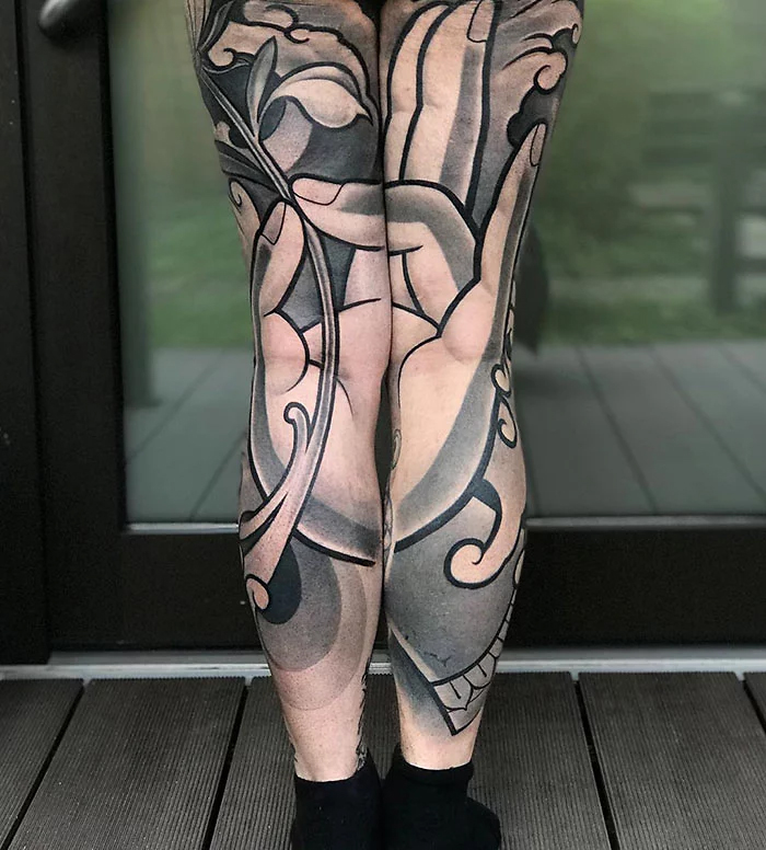 epic leg tattoos back full