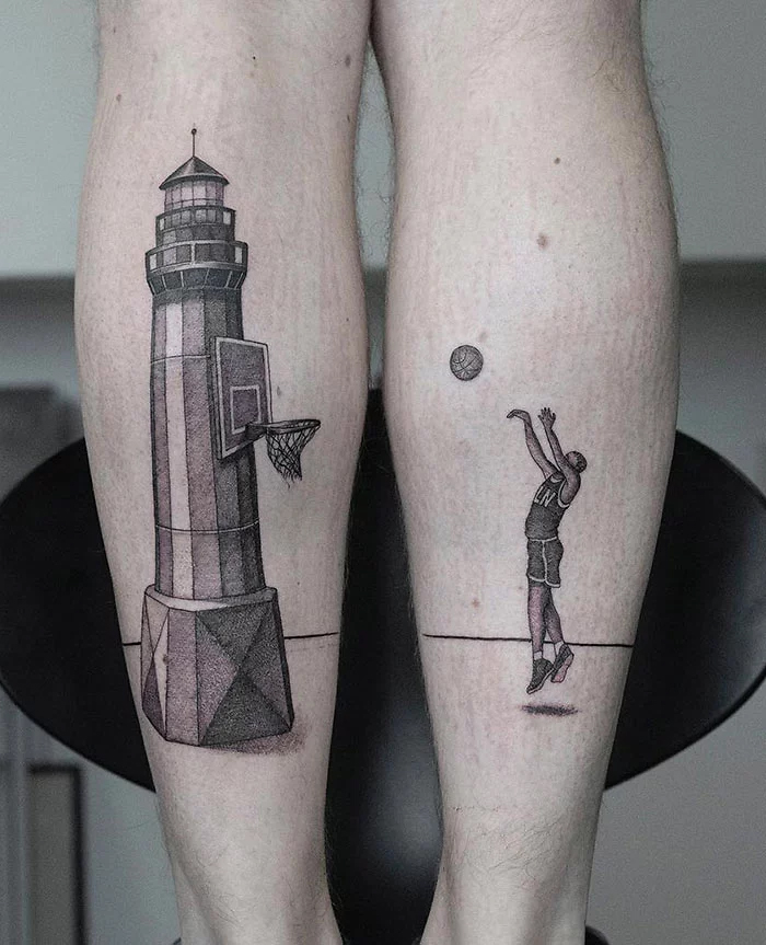 epic leg tattoos basketball