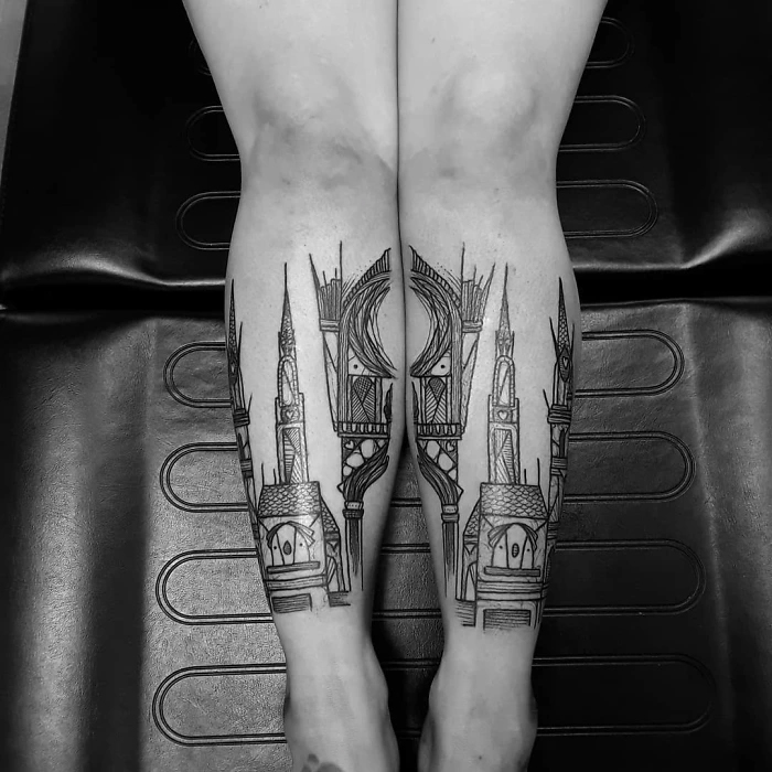 epic leg tattoos cathedral