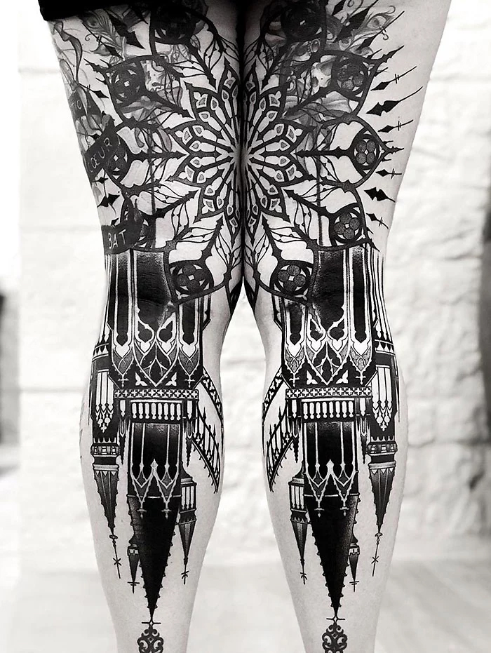 epic leg tattoos church-inspired