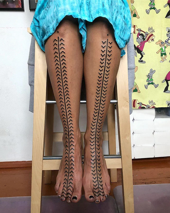 epic leg tattoos fascinating pattern