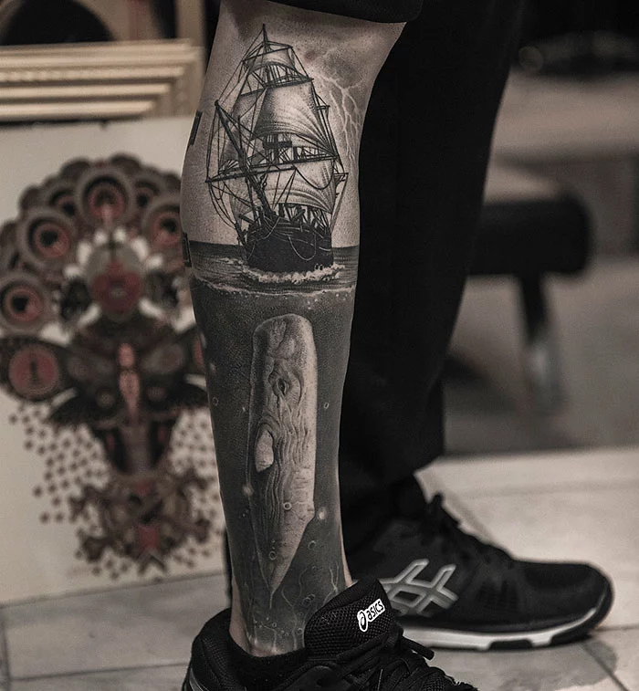 epic leg tattoos moby dick