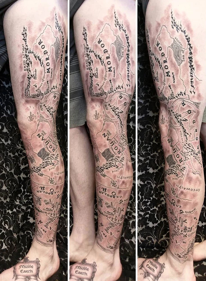 epic leg tattoos mordor map