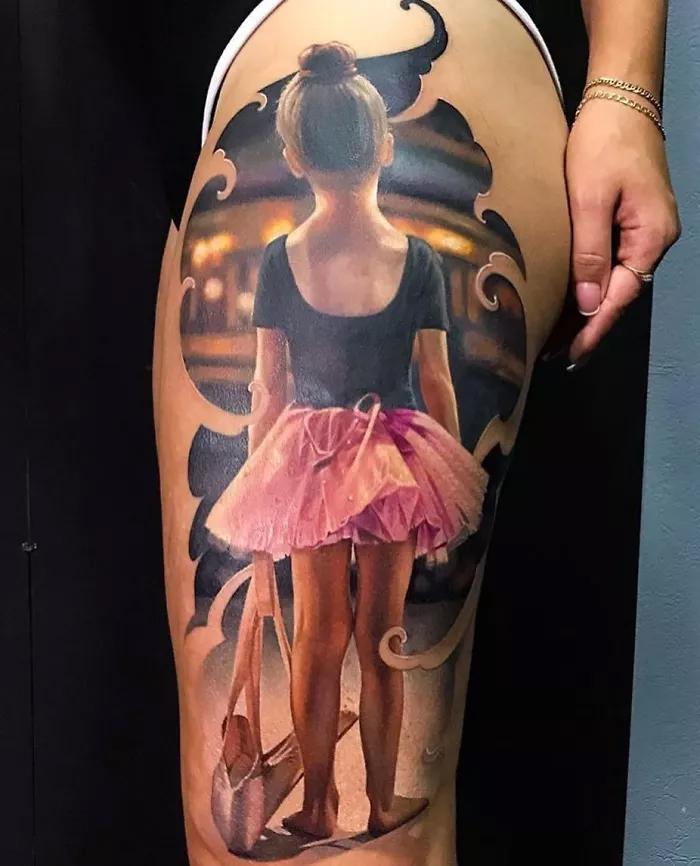 epic leg tattoos realisitc ballerina