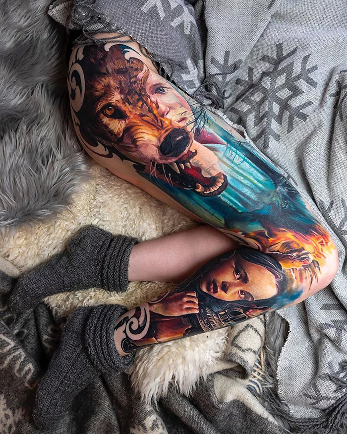 epic leg tattoos wolf girl