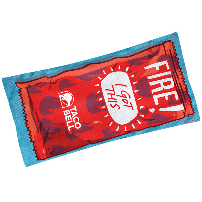 fire sauce packet beach towel