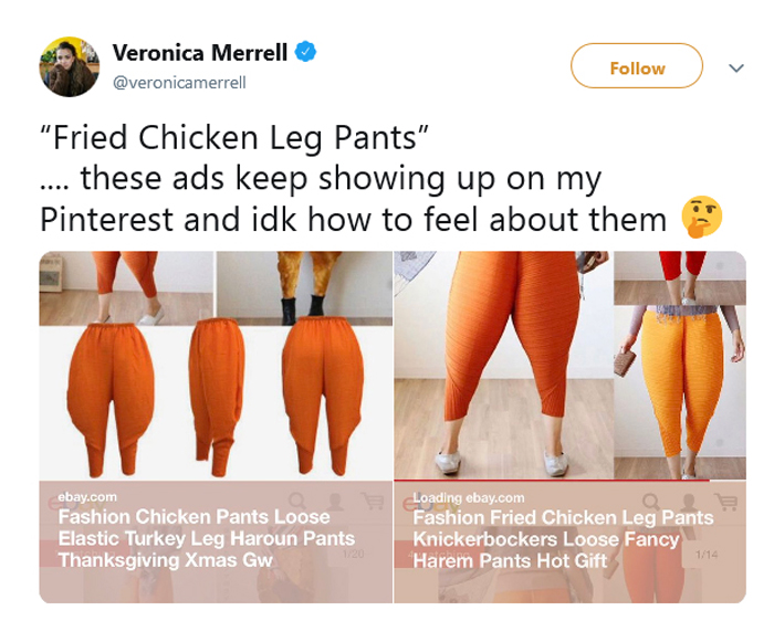 fried chicken drumstick pants comment veronica