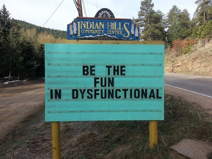 fun dysfunctional pun road signs