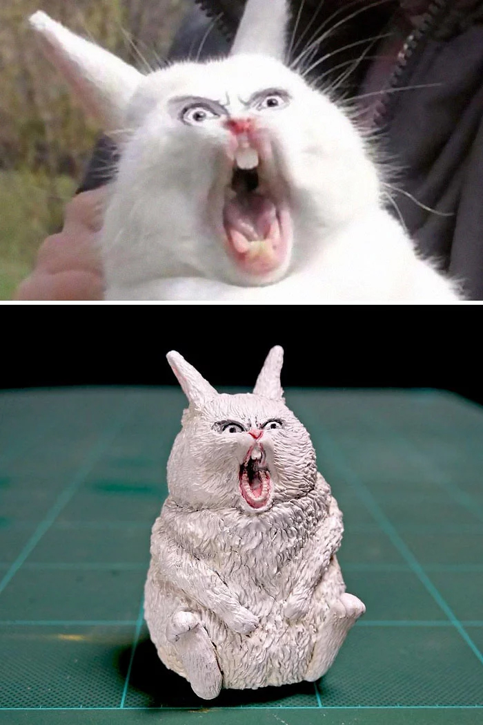 hilarious animal meme sculptures angry rabbit
