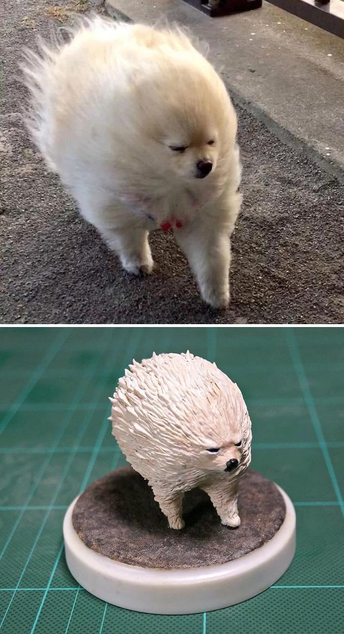hilarious animal meme sculptures bird windy dog