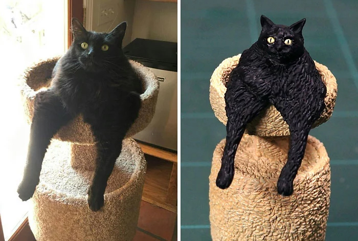 hilarious animal meme sculptures black cat sitting