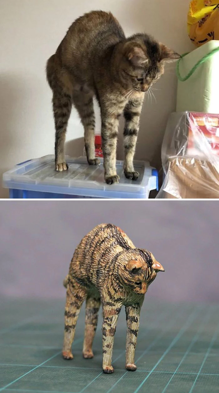 hilarious animal meme sculptures cat long legs