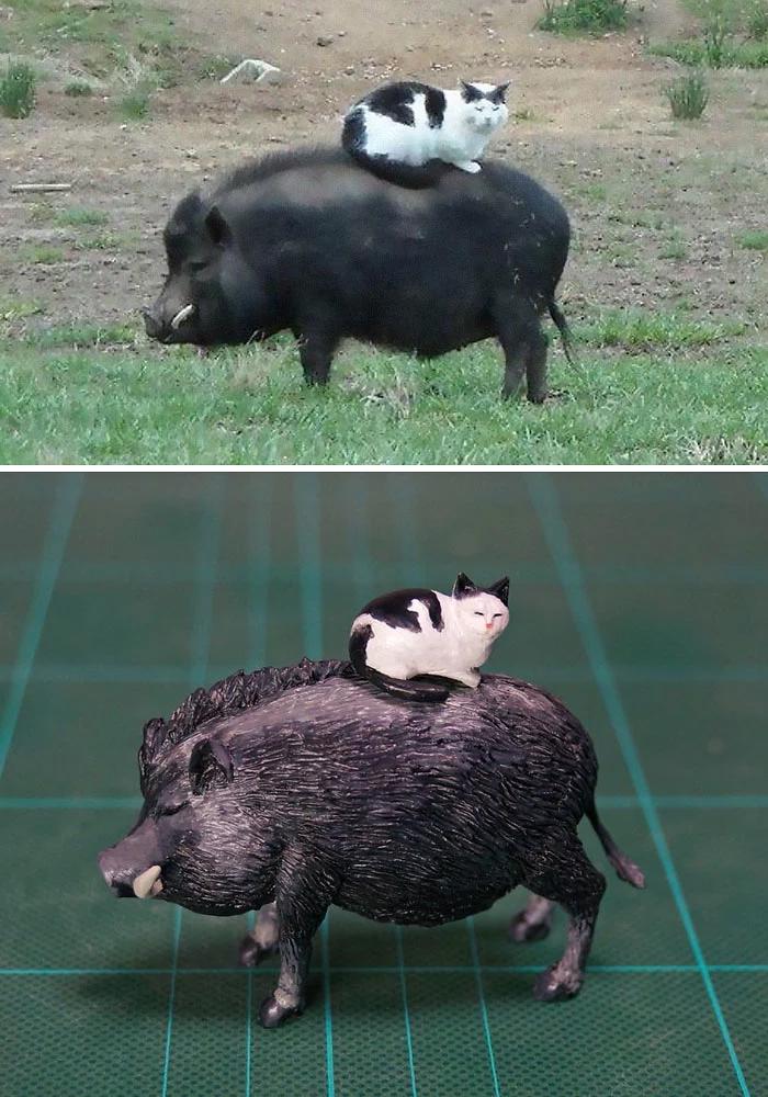 hilarious animal meme sculptures cat riding pig