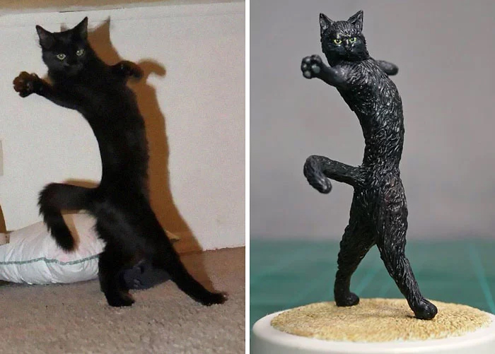hilarious animal meme sculptures dancing cat