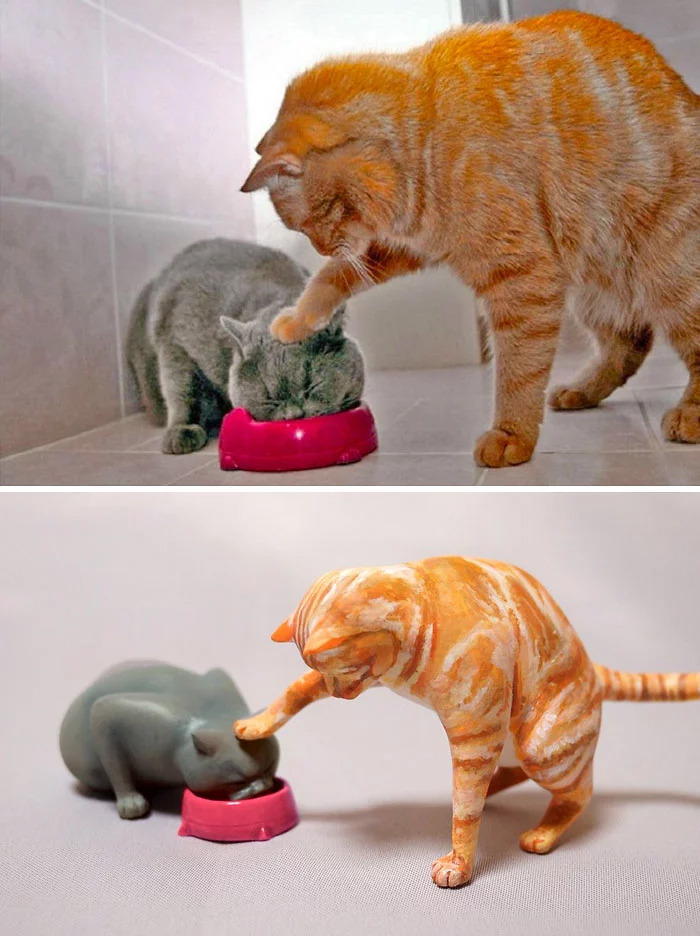 hilarious animal meme sculptures feeding cat
