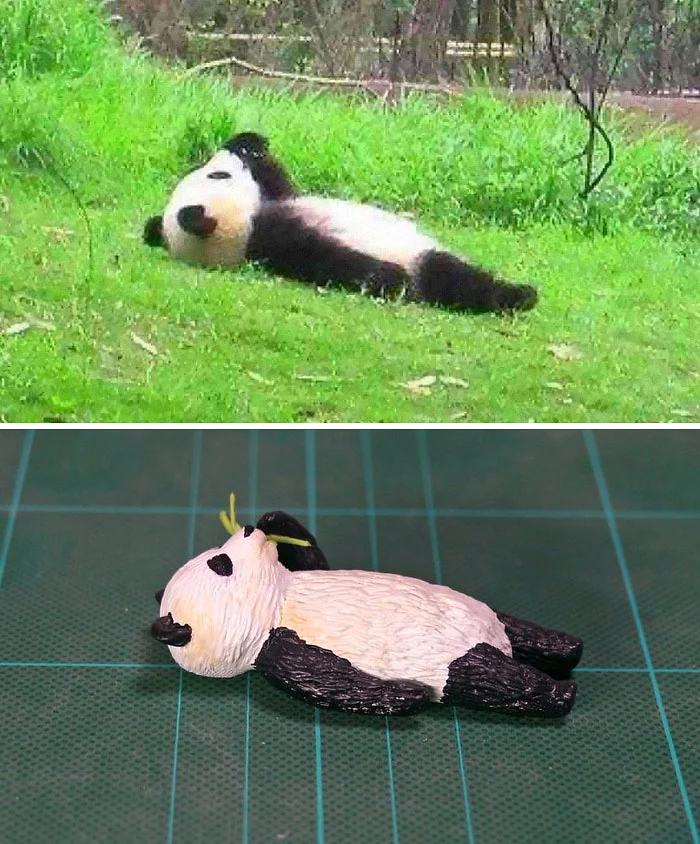 hilarious animal meme sculptures lazy panda