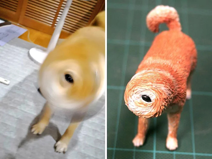 hilarious animal meme sculptures one-eyed dog