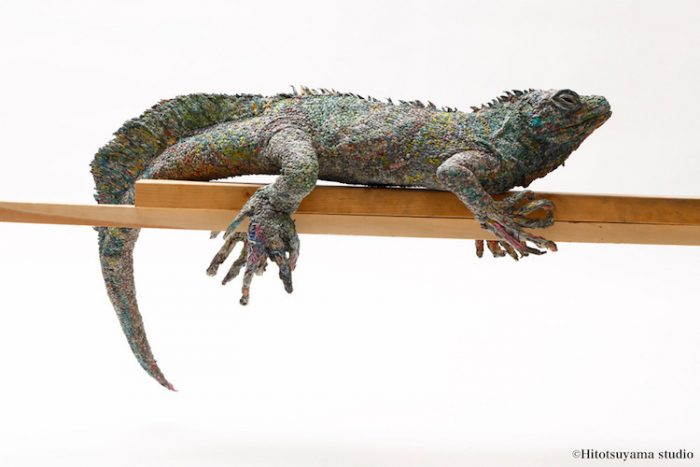 hitotsuyama newspaper animal sculptures iguana